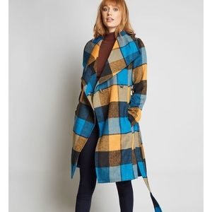 Blue and orange plaid coat